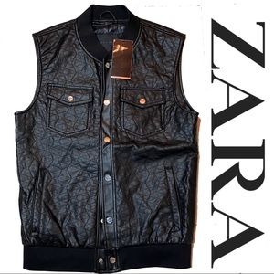 NWT Zara Man Faux Leather quilted Vest